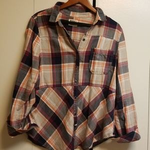 Anthropologie Holding Horses Plaid Button Flannel